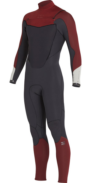 2018 Billabong Absolute 3 / 2mm poitrine Zip Wetsuit vélo ROUGE H43M14