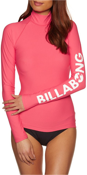 2018 Billabong Womens Logo Long Sleeve Rash Vest PASSION FRUIT H4GY02