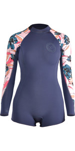 2018 Billabong Womens Spring Fever 2mm Back Zip Long Sleeve Boy Leg Shorty Wetsuit SLATE H42G12