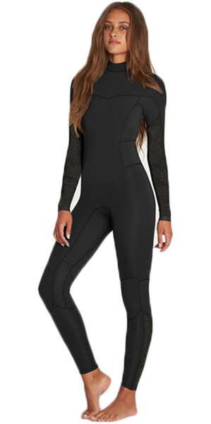 2018 Billabong Ladies Synergy 3 / 2mm Flatlock Zip posteriore Muta NERO H43G12