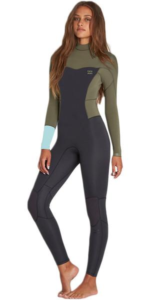 2018 Billabong Ladies Synergy 3 / 2mm Flatlock Back Zip Wetsuit MOSS H43G12