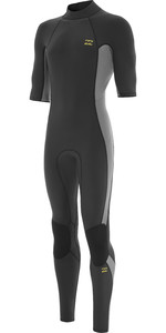 2021 Billabong Heren Absolute 2mm Flatlock Wetsuit Met Korte Mouwen Back Zip W42m70 - Houtskool