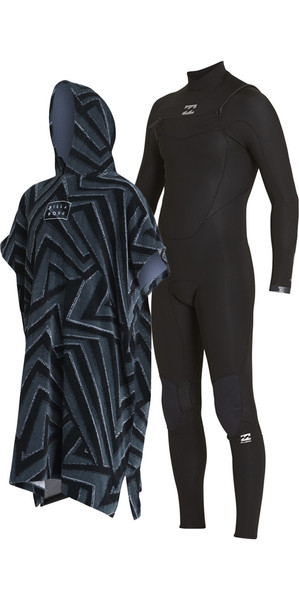 2018 Billabong Absolute Comp 4 / 3mm Poitrine Zip Wetsuit & Poncho / Robe de Changement Robe Bundle