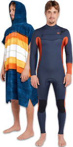Billabong Mens Furnace Revolution 5/4 Bryst Zip Wetsuit & Hooded Poncho Package - Skifer