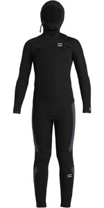 2020 Traje De Neopreno Con Capucha Y Chest Zip Billabong Junior Absolute 5/4mm U45b91 - Negro