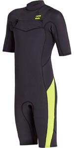 2020 Billabong Junior Boys Absolute 2mm Flatlock Chest Zip Shorty Wetsuit S42B67 - Neon Green