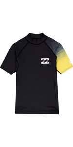 2019 Billabong Junior Boys Contrast Short Sleeve Rash Vest Black N4KY09