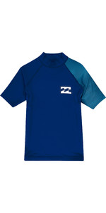 2019 Billabong Junior Boys Kontrastieren Kurzarm Rash Weste Navy N4ky09