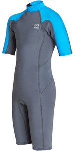 2019 Billabong Júnior Menino Furnace Absolute 2mm Back Zip Shorty Wetsuit Cinza N42b04