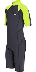 2019 Billabong Júnior Furnace Do Menino Absolute 2mm Back Zip Shorty Wetsuit Neon Amarelo N42b04