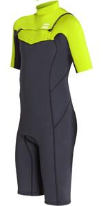 2019 Billabong Junioren Furnace Absolute 2mm Chest Zip Shorty Anzug Neongelb N42b05