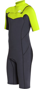 2019 Billabong Junior Boy's Furnace Absolute 2mm Chest Zip Shorty Wetsuit Neon Yellow N42b05