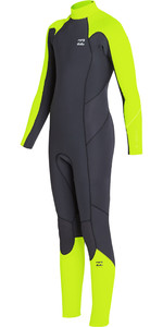 2019 Billabong Junior Jongen Furnace Absolute 3/2mm Back Zip Wetsuit Neon Geel N43b05