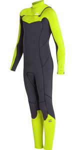 2019 Billabong Junior Dreng Furnace Absolute 4/3mm Chest Zip Våddragt Neon Gul N44b03