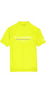 2019 Billabong Junior Boys Unity maniche corte Rash Vest Lime N4KY07