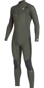 2019 Billabong Furnace Júnior Absolute 4/3 4/3mm Chest Zip Wetsuit Olive Q44b04