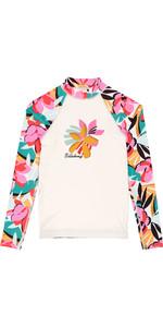 2019 Billabong Junior Girls Flower manica lunga Rash Vest Seashell N4KY04