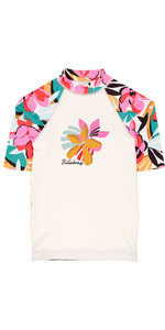 2019 Billabong Junior Girls Flower Short Sleeve Rash Vest Seashell N4KY03