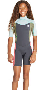 2019 Synergy Da Menina Júnior Billabong 2mm Back Zip Shorty Wetsuit Seafoam N42b07