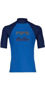 2018 Billabong Junior Team Wave Kurzarm Rash Weste PETROL BLUE H4KY03