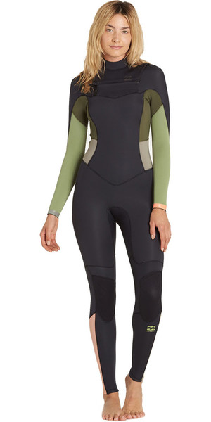 2018 Billabong Ladies 5/4mm Synergy Chest Zip Wetsuit GREEN TEA F45G11