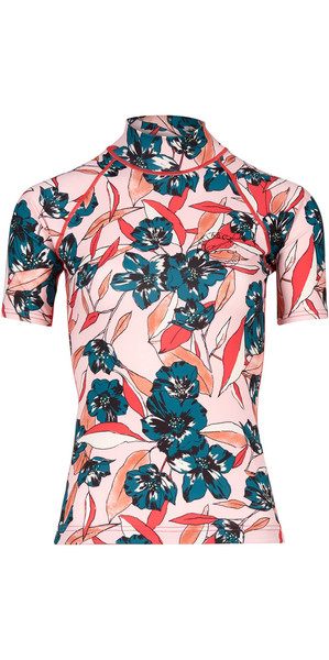 2018 Billabong Womens Flower Short Sleeve Rash Vest BLUSH H4GY03