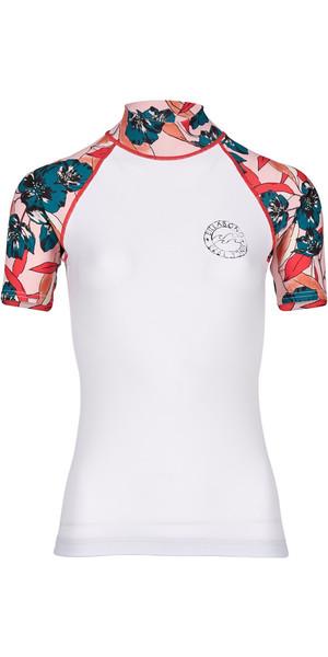 2018 Billabong Ladies Flower Short Sleeve Rash Vest BIANCO H4GY03