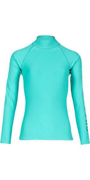 2018 Billabong Ladies Logo manica lunga Rash Vest POOL BLUE H4GY02
