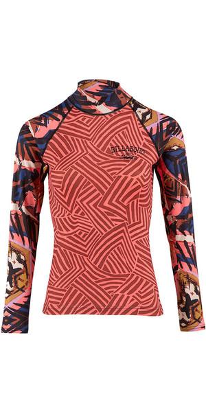 2018 Billabong Ladies Surf Capsule manica lunga Rash Vest PARADISE ROSA H4GY06