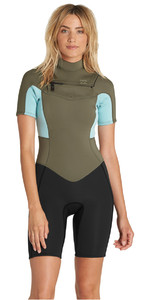Billabong Womens Synergy 2mm Chest Zip Shorty Wetsuit MOSS H42G05