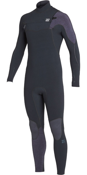 2019 Billabong Mens 4 / 3mm Forno de Carbono Comp Peito Zip Wetsuit Areias Pretas N44M01
