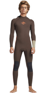 2019 Billabong Mens 3 / 2mm Oven Revolution Ninja Zip Wetsuit Olive N43M31