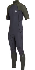 2019 Billabong Mens 2mm Forno de Volta Absoluto Zip Manga Curta Wetsuit Preto Azeite N42M29