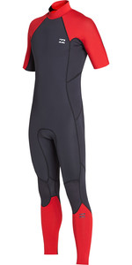 2019 Billabong Mens 2mm Forno de Volta Absoluto Zip Manga Curta Wetsuit Vermelho N42M29