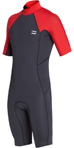 2019 Billabong Homens 2mm Absolute Back Zip Shorty Wetsuit Vermelho N42m24