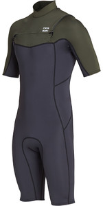 2019 Billabong Mens 2mm Furnace Absolute Chest Zip Shorty Wetsuit Black Olive N42M23