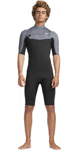 2019 Billabong Homens 2mm Absolute Gbs Chest Zip Shorty Wetsuit Urze Cinza N42m20