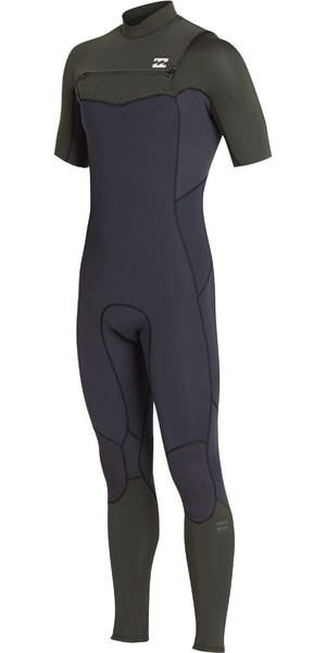 2019 Billabong Herre 2mm Furnace Absolut Comp Chest Zip Wetsuit Black Olive N42M19