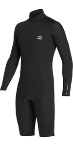 2019 Billabong Mens 2mm Absolute Long Sleeve GBS Back Zip Shorty Wetsuit Black / Silver N42M21