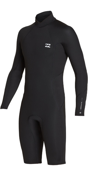 2019 Billabong Mens 2mm Furnace Absolute Long Sleeve GBS Back Zip Shorty Wetsuit Black / Silver N42M21