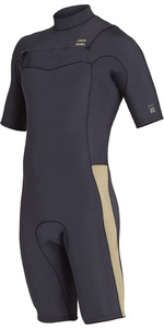 2019 Billabong Mens 2mm Furnace Revolution Chest Zip Shorty Wetsuit Black Sands N42M08