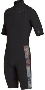 2019 Billabong Men's 2mm Revolução Chest Zip Shorty Wetsuit Camo N42m08