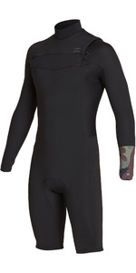 2019 Billabong Mens 2mm Revolution Long Sleeve Chest Zip Shorty Wetsuit Camo N42M09