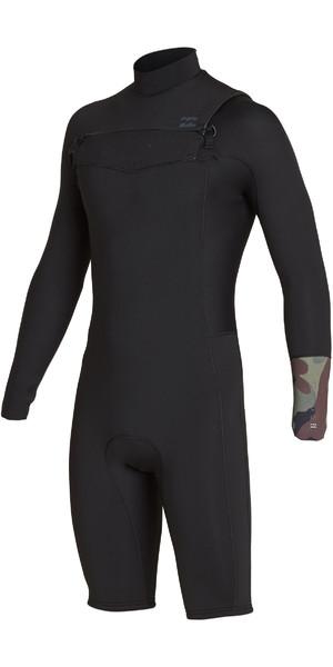 2019 Billabong Mens 2mm Furnace Revolution Long Sleeve Chest Zip Shorty Wetsuit Camo N42M09