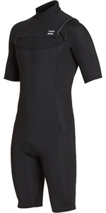 2019 Billabong Mens 2mm Pro Series Chest Zip Shorty Wetsuit Black N42M03