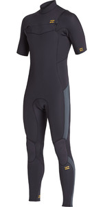 2021 Billabong Homens Absolute 2mm Chest Zip Manga Curta Gbs Wetsuit S42m65 - Preto Antigo