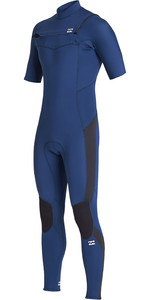 2020 Billabong Mens Absolute 2mm Chest Zip Kurze Ärmel Gbs S42m65 Wetsuit - Blue Indigo