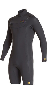 2020 Billabong Herres Absolute 2mm Gbs Chest Zip Langærmet Shorty Wetsuit S42m68 - Antik Sort