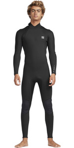 2019 Billabong De Los Hombres 3/2mm Absolute Back Zip Flatlock Traje Negro / Plata N43m33