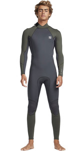 2019 Billabong Mens 3/2mm Absolute Back Zip Flatlock Wetsuit Black Olive N43M33